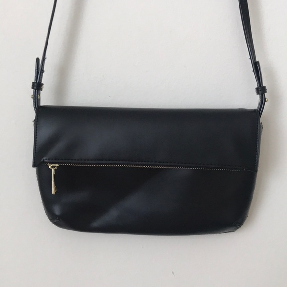 target Handbags - Cute black pleather crossbody with gold hardware